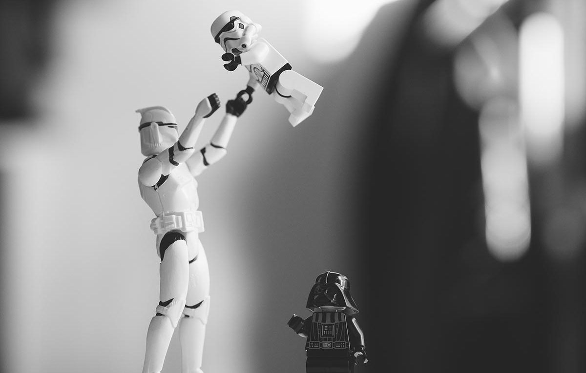 black and white Star Wars toys.