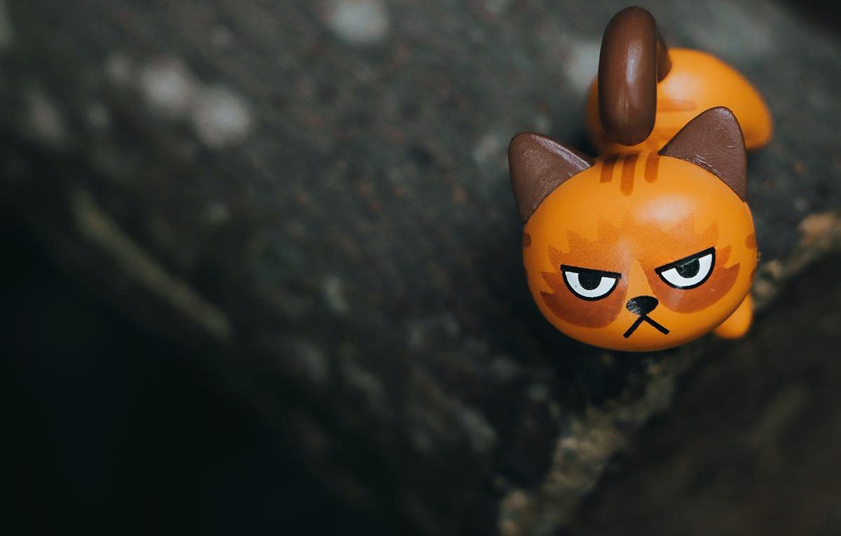 cat-shaped toy with an angry expression