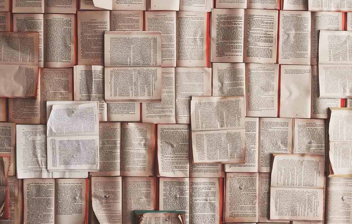 Open books on an orange background