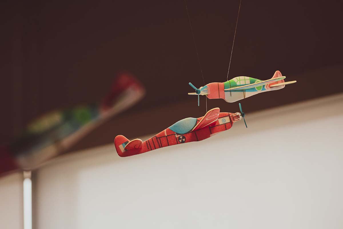 Red and green plane toys